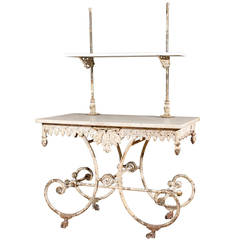 French Marble and Iron Two-Tier Bakers Table with Drawer