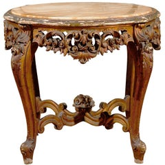 19th Century Rococo Style Italian Side Table with Siena Marble and Carved Base