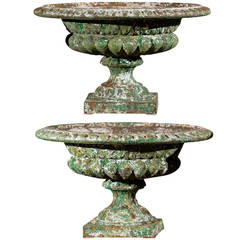 Pair of 19th Century Green Cast Iron Urns