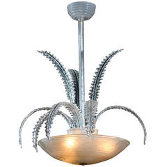Contemporary Glass Chandelier with Fern Leaf Arms