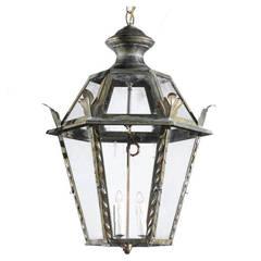 Vintage Italian Three-Light Iron Hexagonal Hanging Lantern