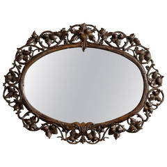 19th Century Carved Black Forest Oval Mirror