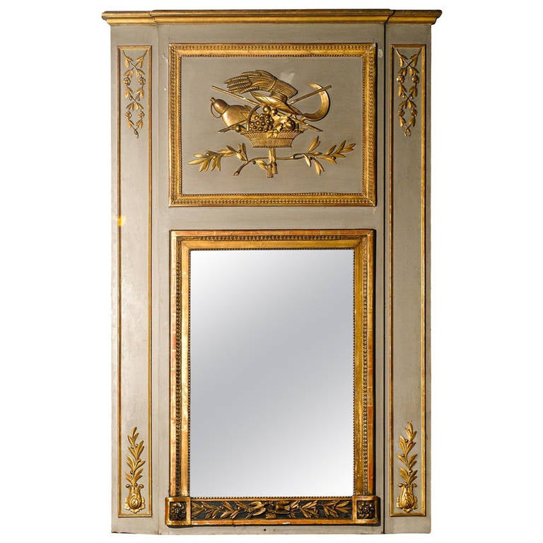 19th century large french giltwood paint decorated trumeau mirror for sale at 1stdibs. Black Bedroom Furniture Sets. Home Design Ideas