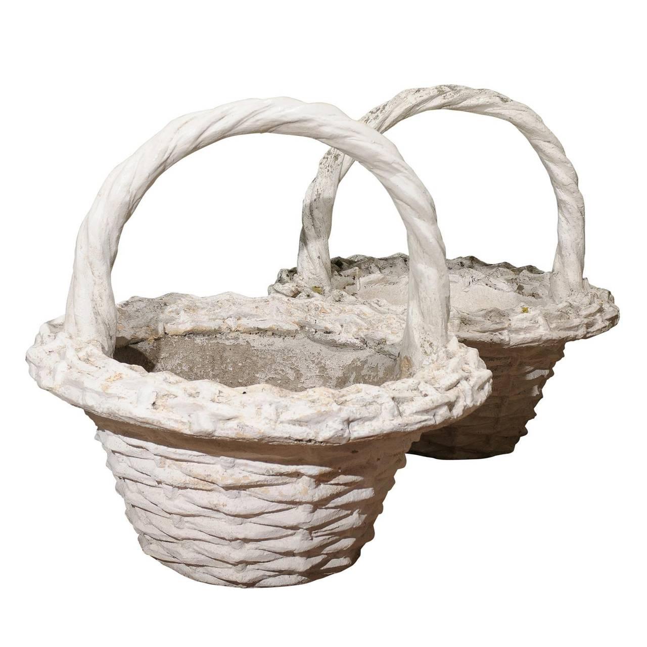 Pair Of Large Vintage Paint Decorated Concrete Baskets For