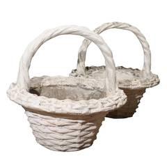 Pair of Large Vintage Paint Decorated Concrete Baskets