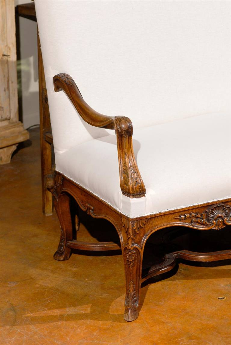 19th century louis xv style french carved walnut canape at for Canape style louis xv