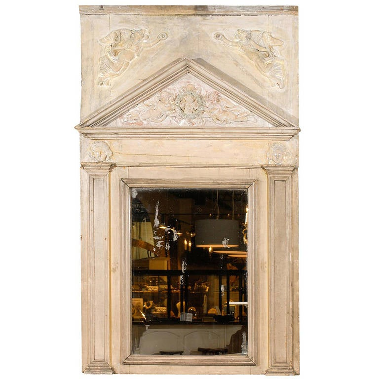French 19th Century Painted Neoclassical Style Trumeau Mirror with Carved Angels For Sale