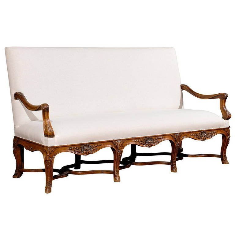 19th Century Louis XV Style French Carved Walnut Canape For Sale