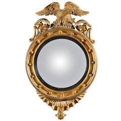 Gilt Convex Mirror With Eagle English