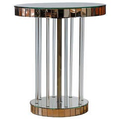 Mid 20th Century Venetian Mirror Table with Lucite Pedestal