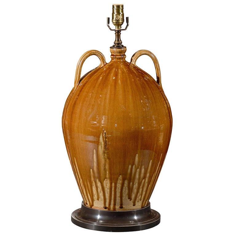 Handmade Ceramic Lamps : Handmade north carolina ceramic double handle jug as lamp
