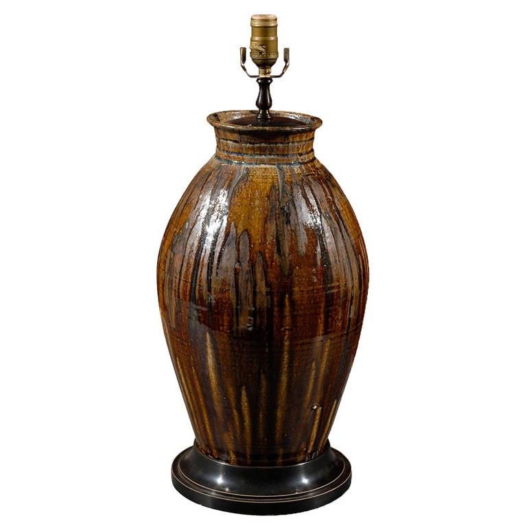 Handmade north carolina ceramic urn as lamp for sale at 1stdibs - Hand made lamps ...