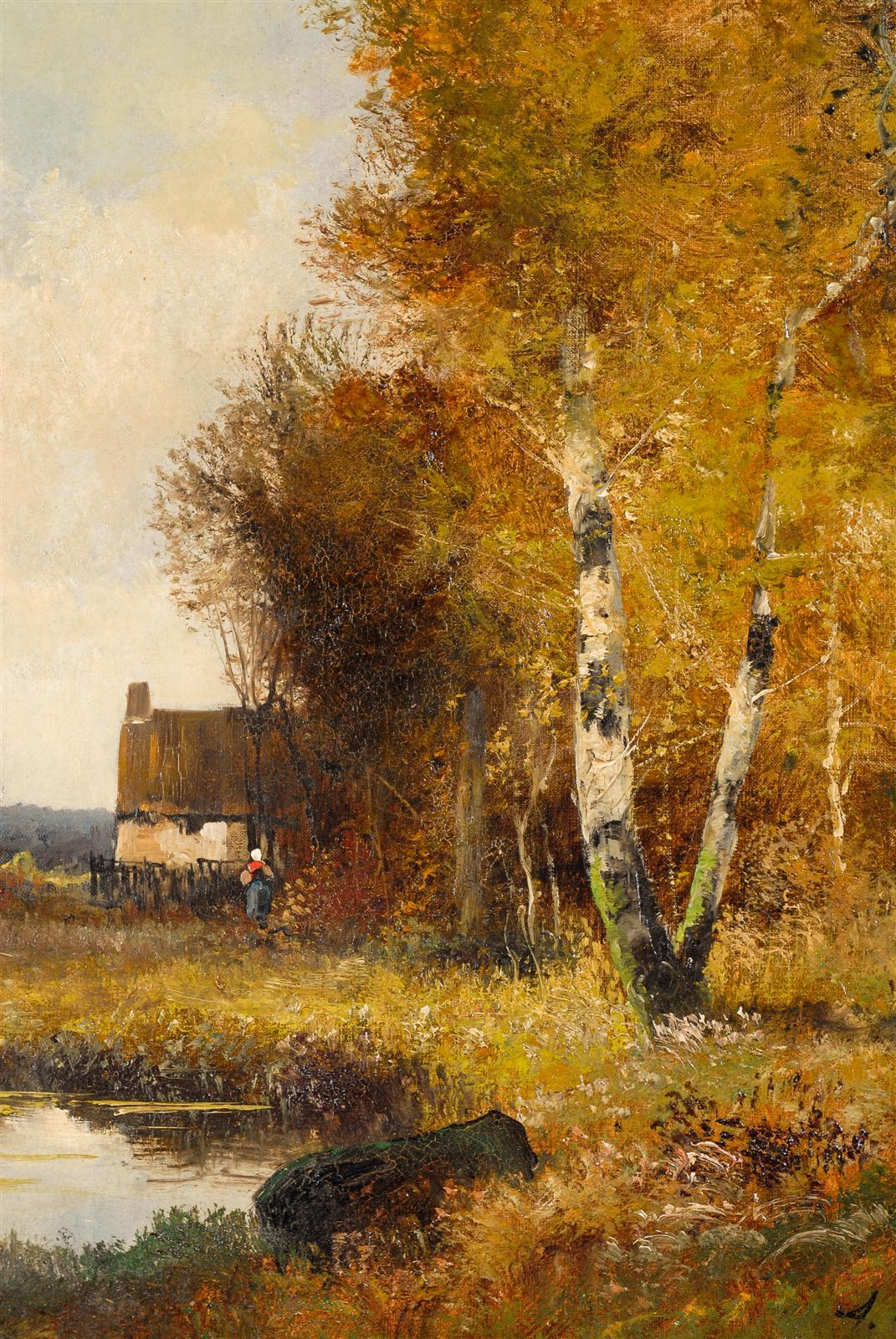 French landscape oil painting at 1stdibs for Oil painting scenery