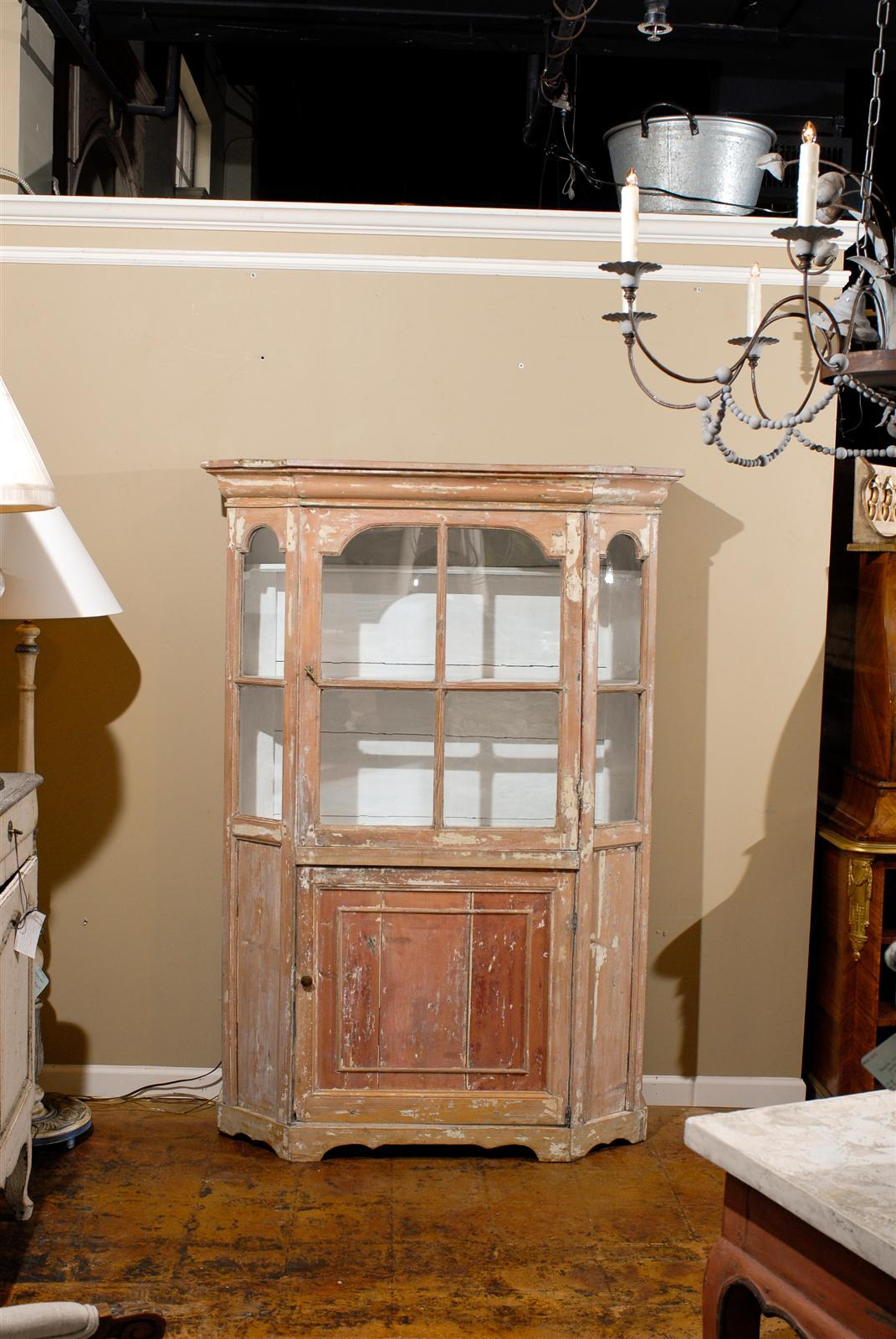 Dutch 1850s Curio Cabinet with Glass Door over Wooden Door and Canted Sides In Good Condition In Atlanta, GA