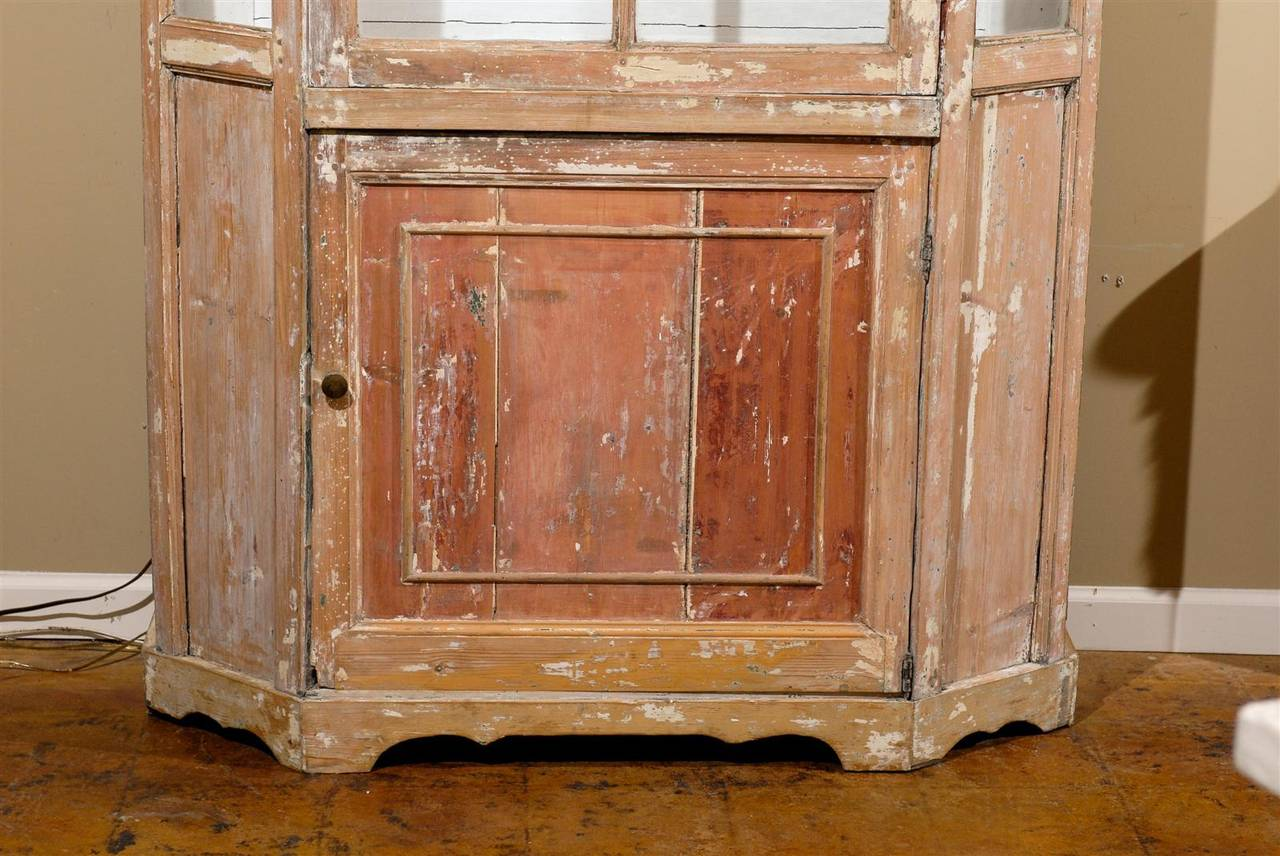 Dutch 1850s Curio Cabinet with Glass Door over Wooden Door and Canted Sides 5