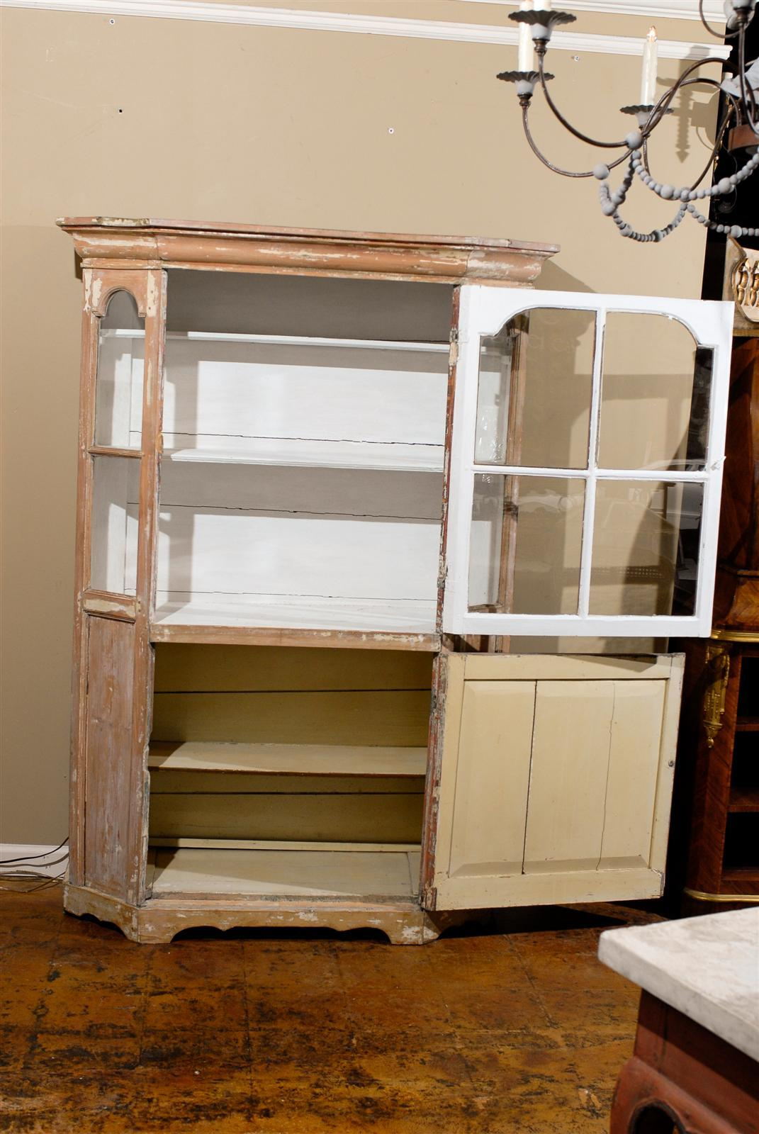 Dutch 1850s Curio Cabinet with Glass Door over Wooden Door and Canted Sides 1