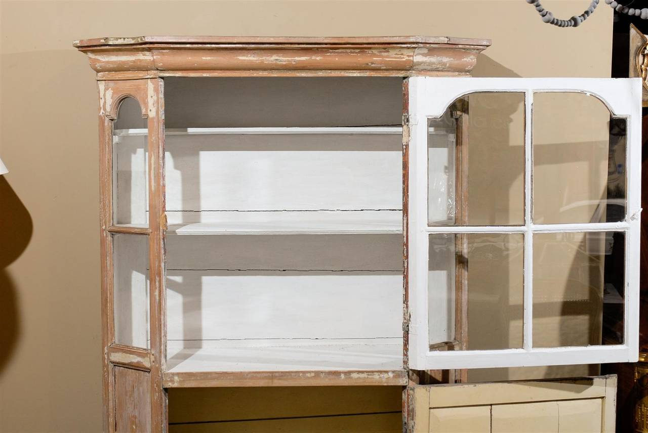 Dutch 1850s Curio Cabinet with Glass Door over Wooden Door and Canted Sides 4