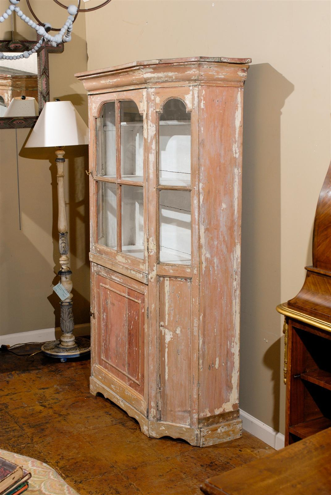 19th Century Dutch 1850s Curio Cabinet with Glass Door over Wooden Door and Canted Sides