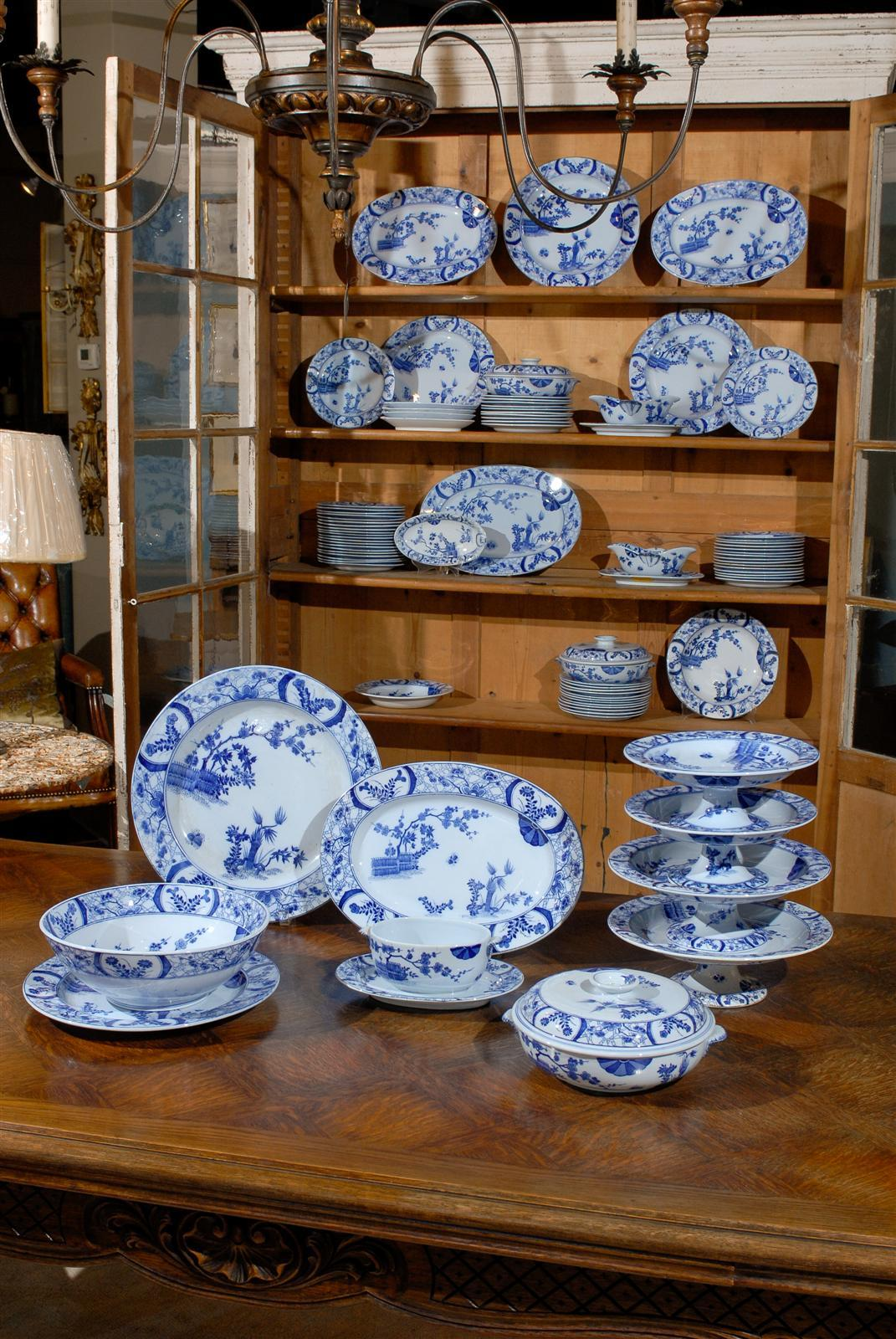 French 85-Piece Blue and White Japonisme Porcelain Dinnerware Designed by Claude Monet For Sale & 85-Piece Blue and White Japonisme Porcelain Dinnerware Designed by ...