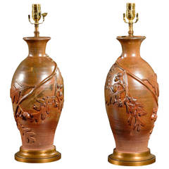 Pair of Contemporary Lustre Overglazed Ceramic Table Lamps with Oak Leaves