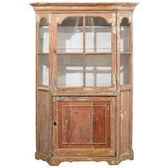 Dutch 1850s Curio Cabinet with Glass Door over Wooden Door and Canted Sides