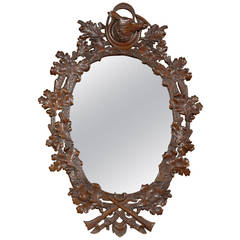 19th Century Black Forest Oval Mirror