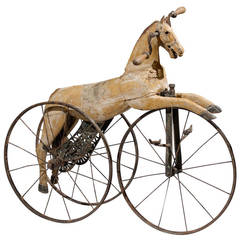 French Carved and Painted Horse on Tricycle Decorative Object, circa 1880