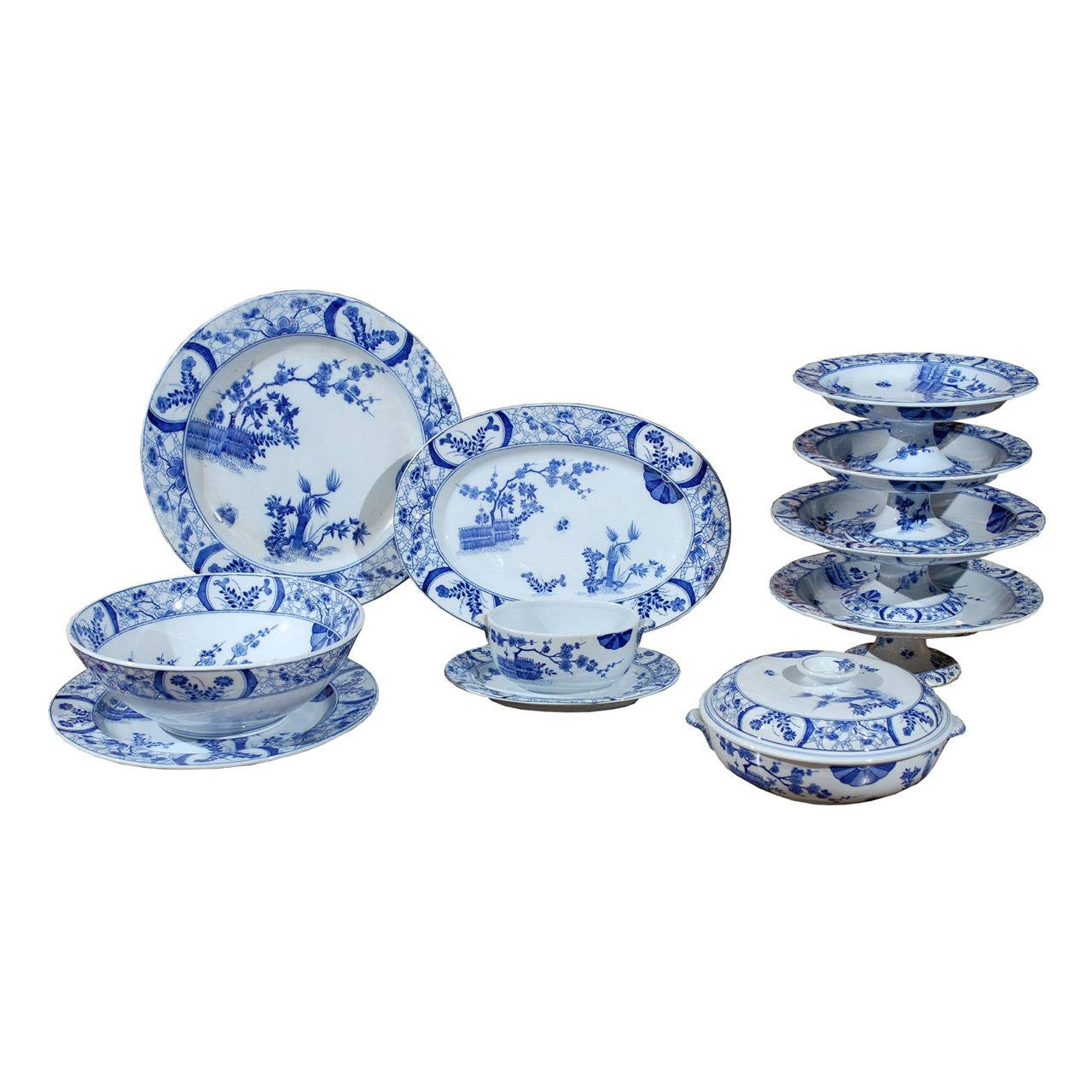 85-Piece Blue and White Japonisme Porcelain Dinnerware Designed by Claude Monet For Sale  sc 1 st  1stDibs & 85-Piece Blue and White Japonisme Porcelain Dinnerware Designed by ...