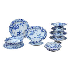 85-Piece Blue and White Japonisme Porcelain Dinnerware Designed by Claude Monet