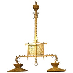 Antique Chandelier. American Antique Billiard Light