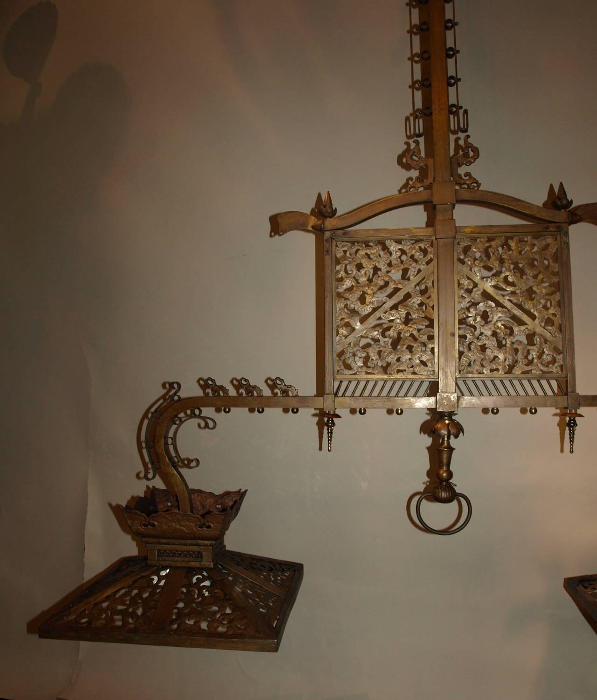 Antique Chandelier. American Antique Billiard Light For