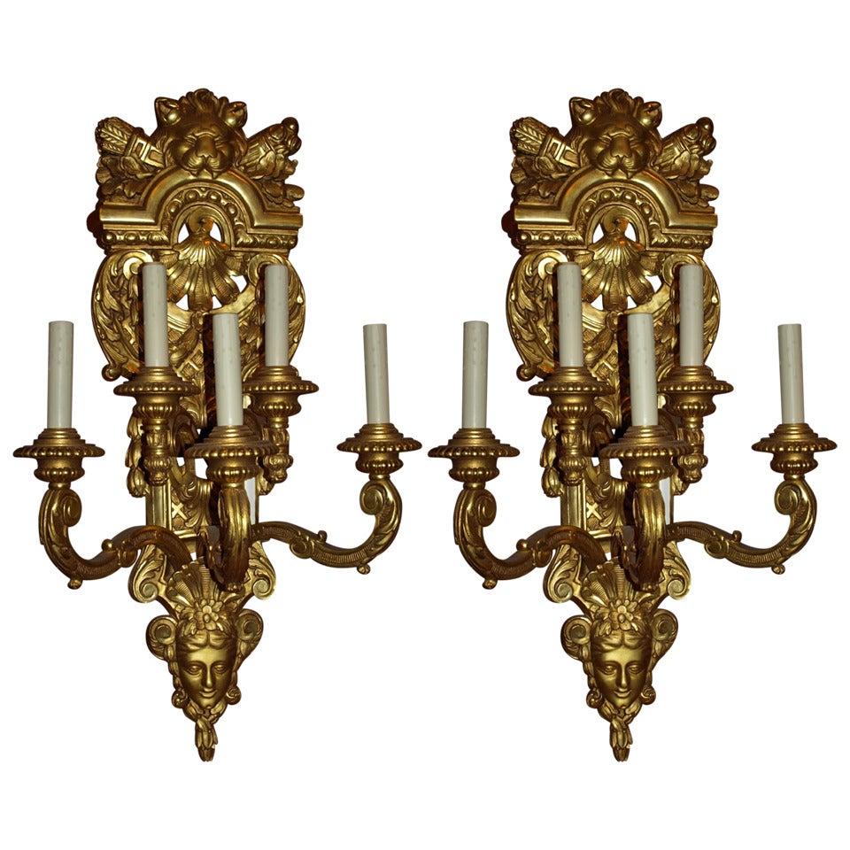 Antique Magnificent Giltwood Sconces