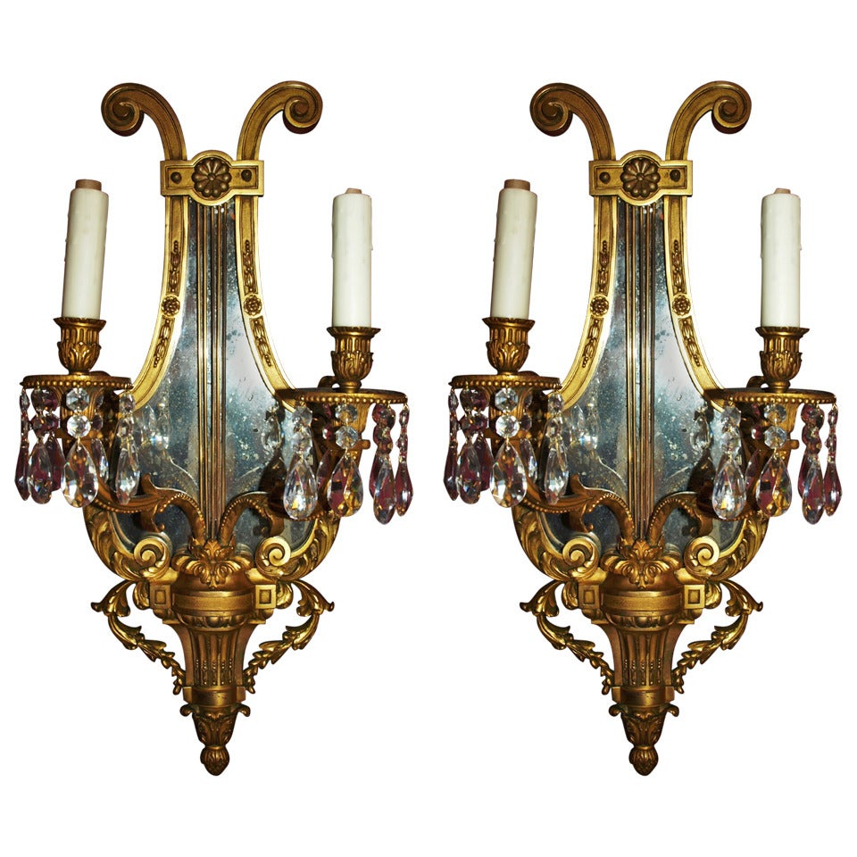 Antique Mirror Wall Sconces : Antique Pair of Mirrored-Back Sconces at 1stdibs
