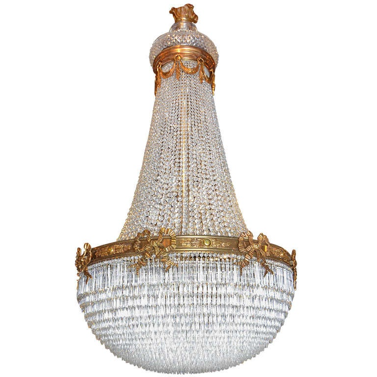 Antique Chandelier. Baccarat basket style chandelier 1 - Antique Chandelier. Baccarat Basket Style Chandelier For Sale At