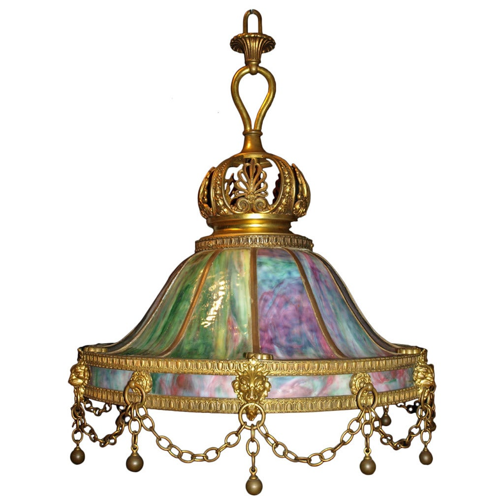 antique chandelier stained glass lamp for sale at 1stdibs. Black Bedroom Furniture Sets. Home Design Ideas