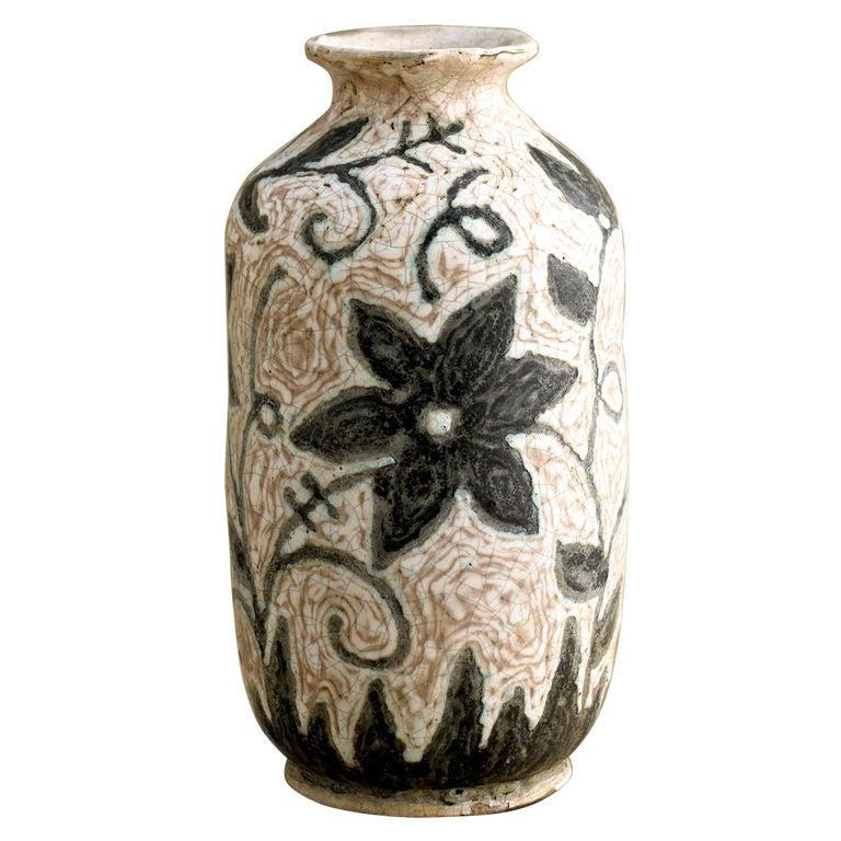 Geza Gorka Floral Ceramic Vase At 1stdibs