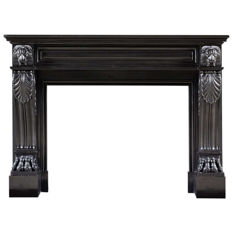 Early 19th Century English Regency Period Black Marble Fireplace Mantel At 1stdibs