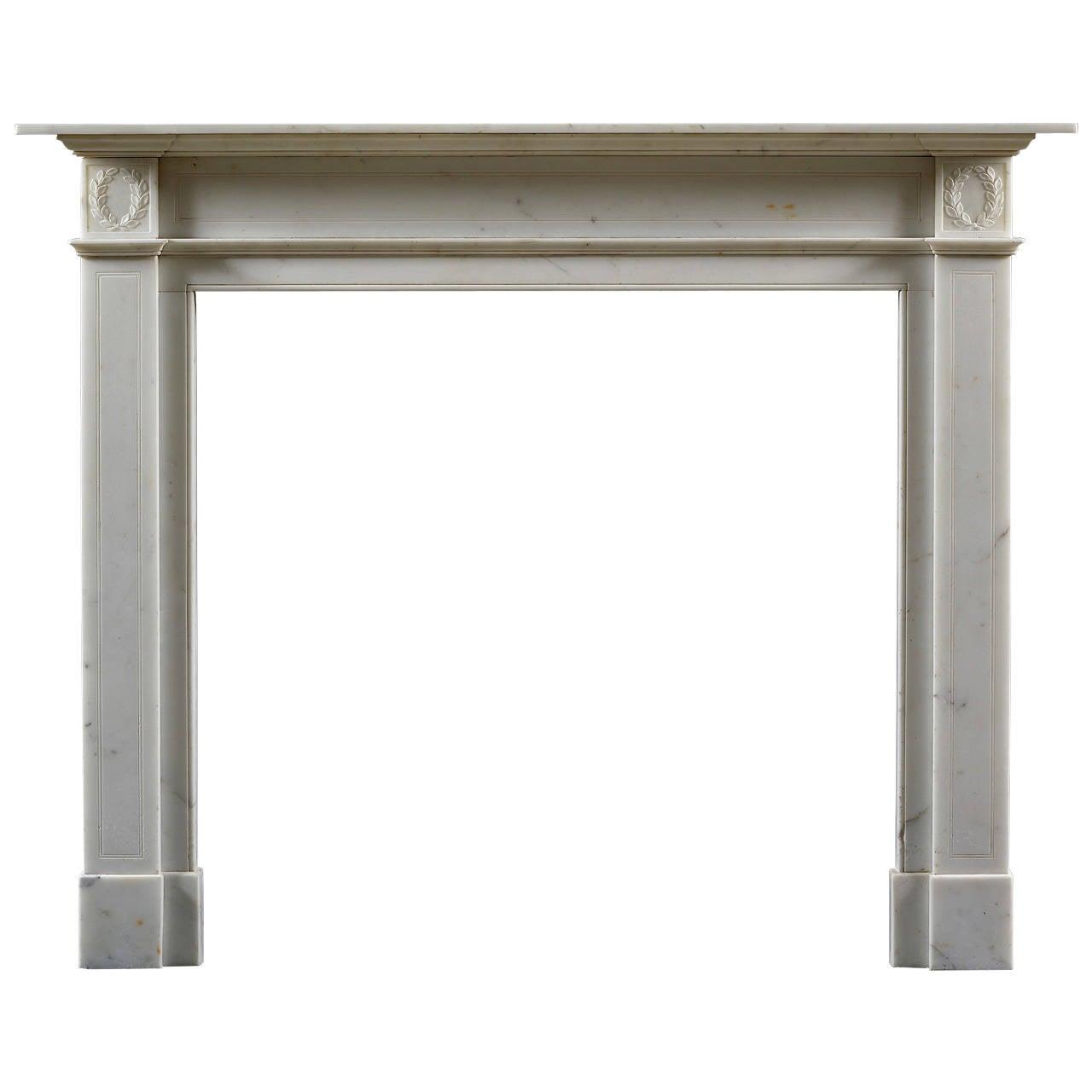 Early Regency Statuary Marble Fireplace Mantel