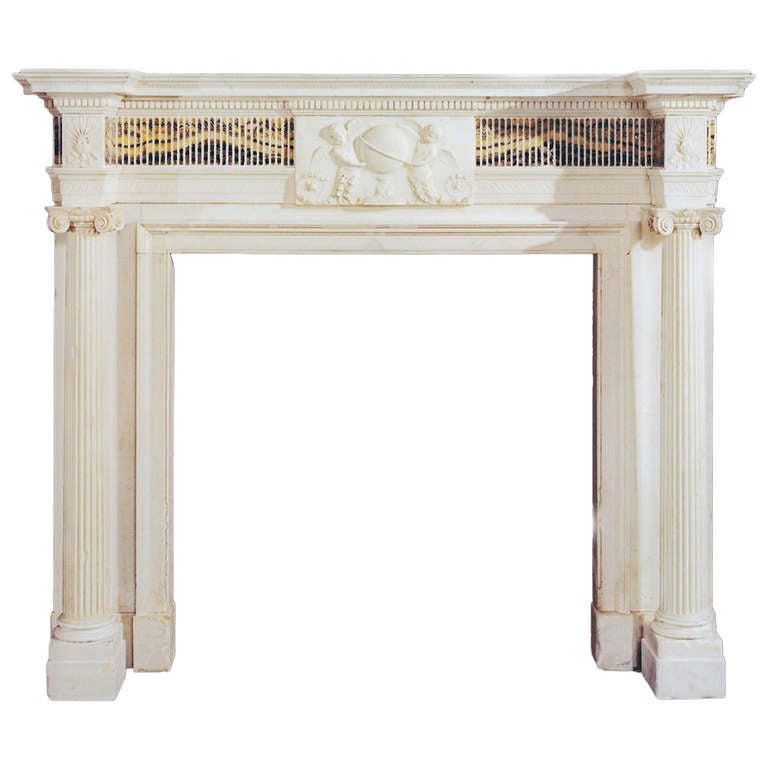 Very Important Late 18th Century Statuary Marble Chimneypiece