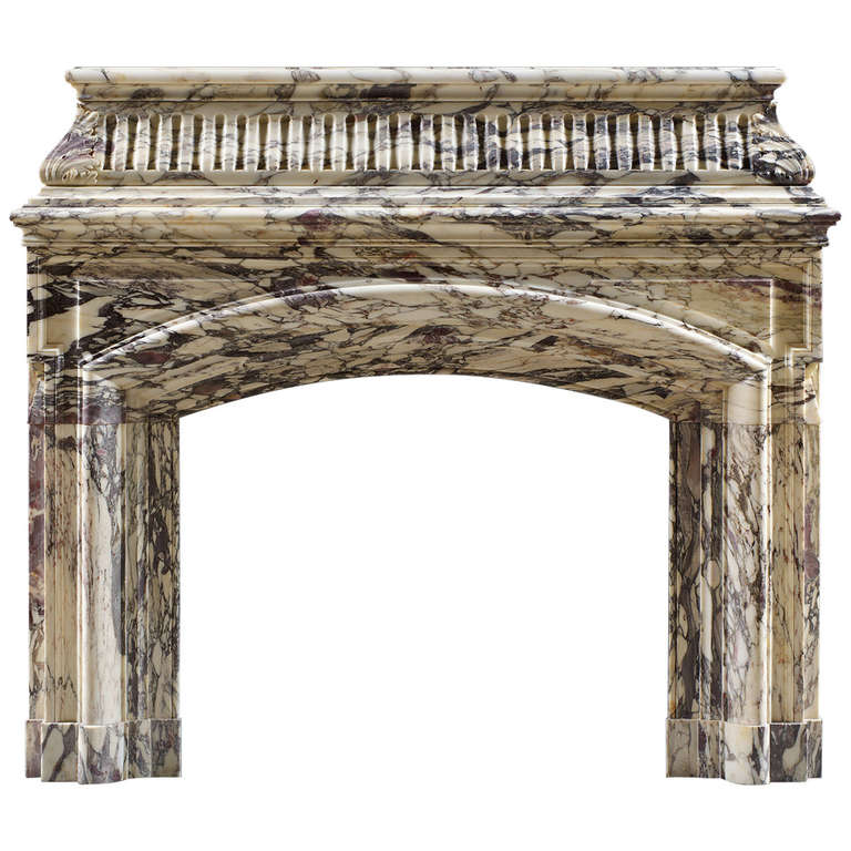 Antique William IV Breche Violette Marble Fireplace Mantel For Sale