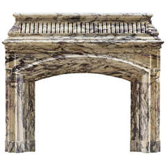 Antique William IV Breche Violette Marble Fireplace Mantel