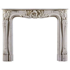 Antique French Statuary Century Marble Fireplace Mantel