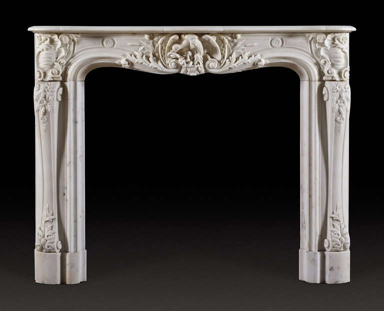 antique french statuary century marble fireplace mantel at