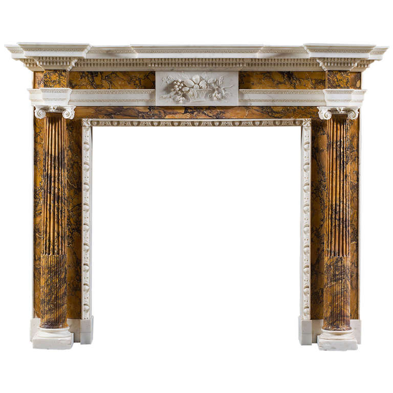 Antique Mid-18th Century Palladian Fireplace Mantel