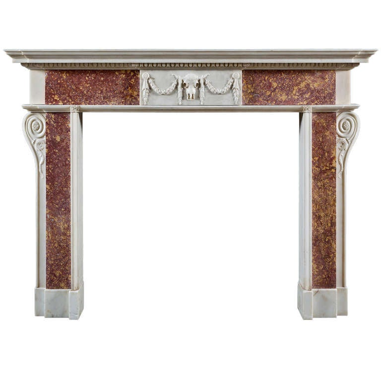 Superb George III Neoclassical Fireplace Mantel of the Roman Doric Order