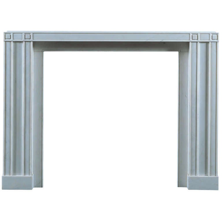 Jamb Soane Reproduction Fireplace in White Statuary Marble