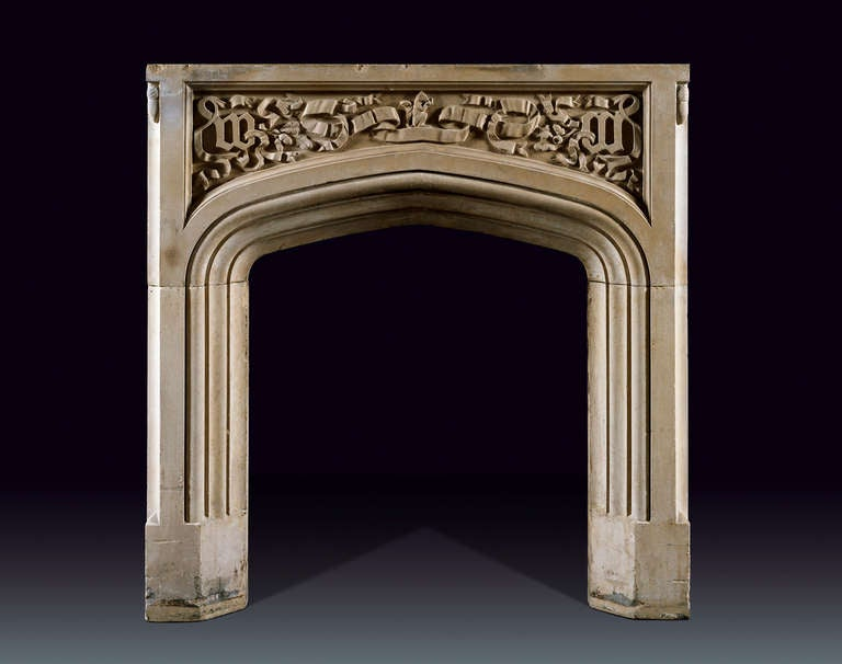Antique English Carved Portland Stone Fireplace Mantel At