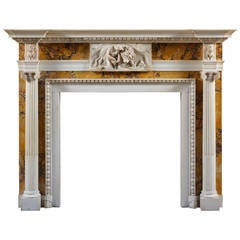 Antique George III Style White Statuary and Sienna Marble Fireplace Mantel