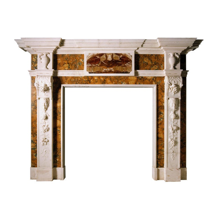 18th Century Statuary, Sienna and Jasper Marble Chimneypiece
