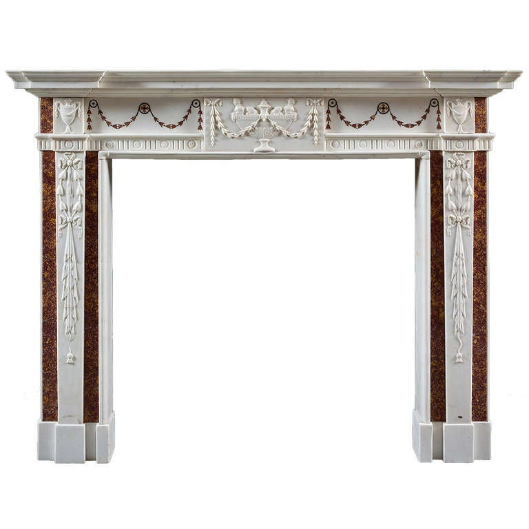 Antique irish georgian iii white marble fireplace mantel for Marble mantels for sale